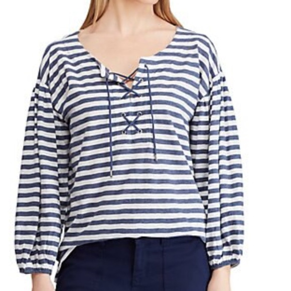 Chaps Tops - Chaps Lace Up Stripe Top